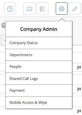 Company Admin Menu