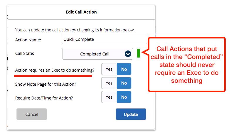 Call Action Settings error
