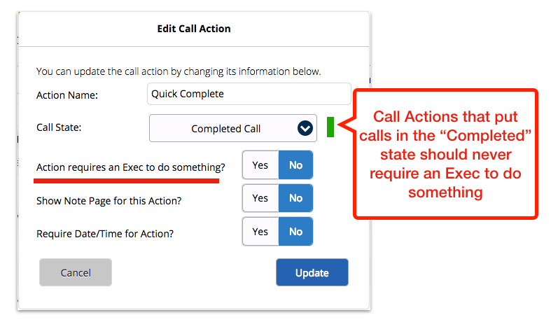 Call Action Settings error