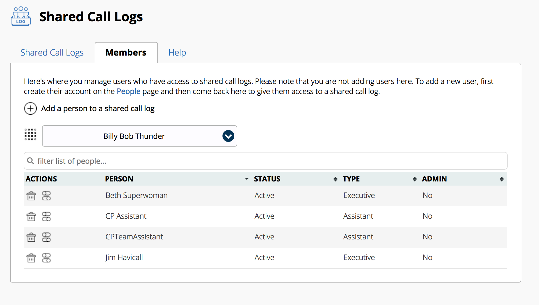 Shared Call Logs members