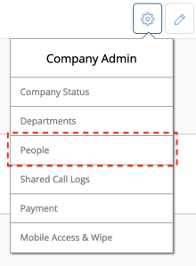 The Company Admin menu is only available to users with Company Admin status and IT Admins.  The People menu is where users are added, deleted and managed